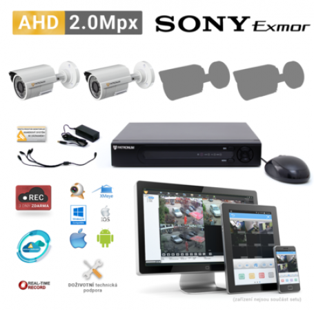 AHD kamerový set PATRONUM - 2 BULLET kamery, 20m IR, 2Mpx