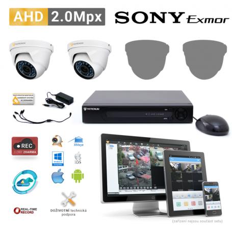 AHD kamerový set PATRONUM - 2 DOME kamery, 20m IR, 2Mpx