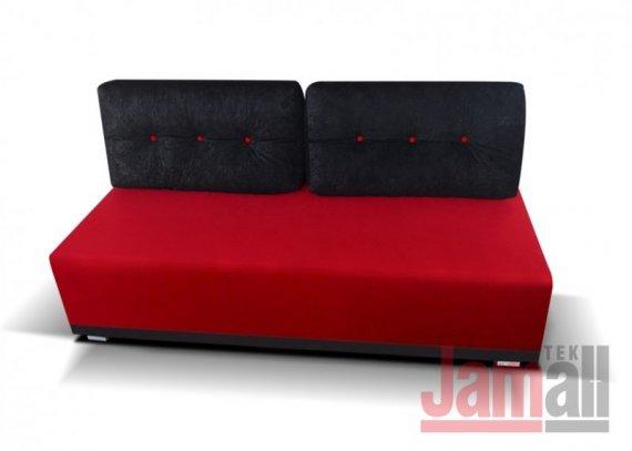 Pohovka rozkládací s úložným prostorem červená/černá PICCOLO