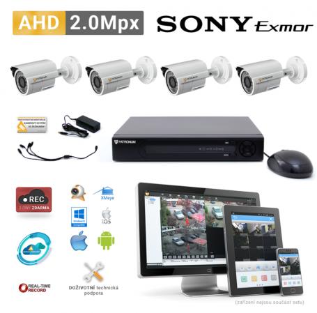 AHD kamerový set PATRONUM - 4 BULLET kamery, 20m IR, 2Mpx