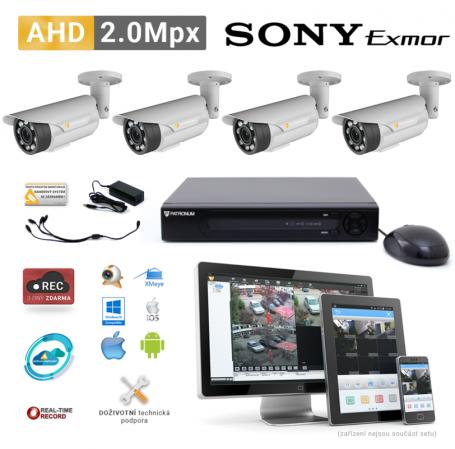 AHD kamerový set PATRONUM - 4 BULLET kamery, 40m IR, 2Mpx