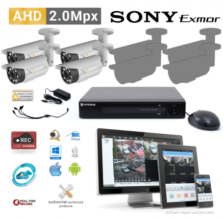 AHD kamerový set PATRONUM - 4 BULLET kamery, 40m IR, 2Mpx PLUS