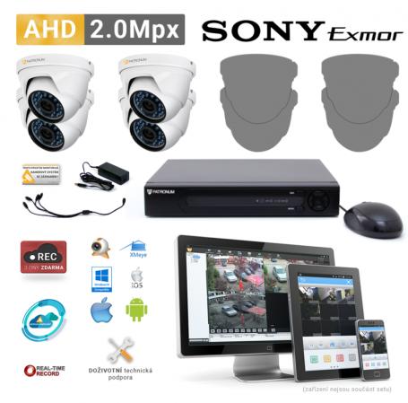 AHD kamerový set PATRONUM - 4 DOME kamery, 20m IR, 2Mpx PLUS