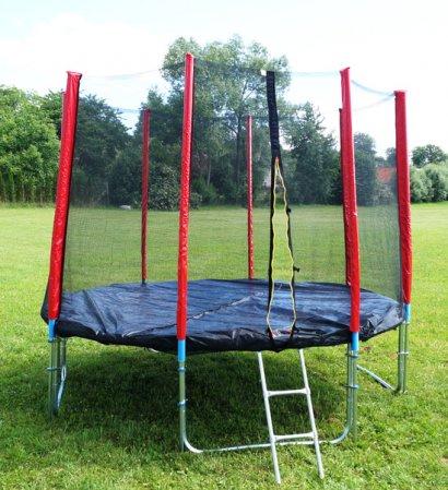 Červená trampolína 305 cm s ochrannou sítí + žebřík + krycí plachta + kotvící sada 4 (ks)