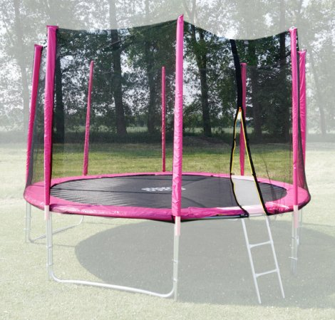 Ochranná síť na trampolínu 366 cm - PVC - na 8 trubek- růžová