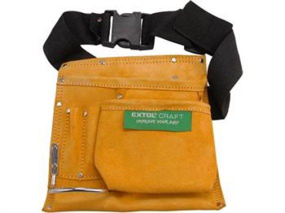 Pás na nářadí kožený, 3 kapsy, 1 držák kladiva, 2 úchyty tužky nebo šroubováku, EXTOL CRAFT