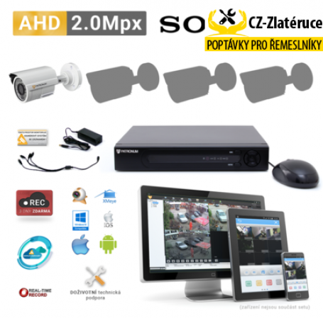 AHD kamerový set PATRONUM - 1 BULLET kamera, 20m IR, 2Mpx