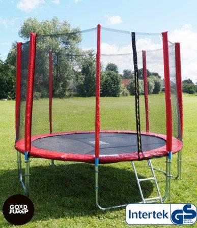Červená trampolína 366 cm s ochrannou sítí + žebřík