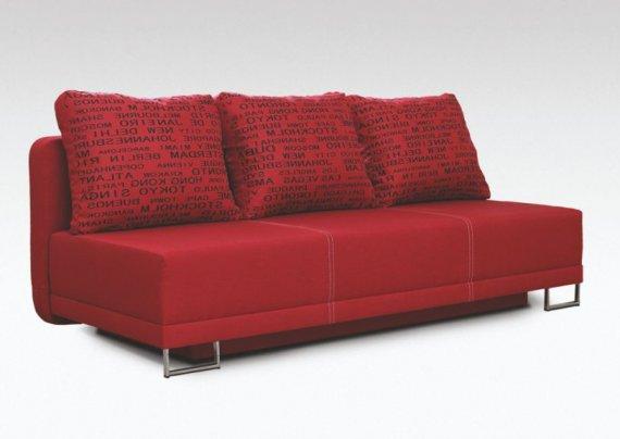 Pohovka rozkládací s úložným prostorem červená WERONA