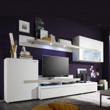 Obývací stěna bílá/dub sonoma PIANO