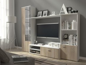 Obývací stěna bílá/dub sonoma HOLIDAY