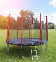 Červená trampolína 305 cm s ochrannou sítí + žebřík + krycí plachta
